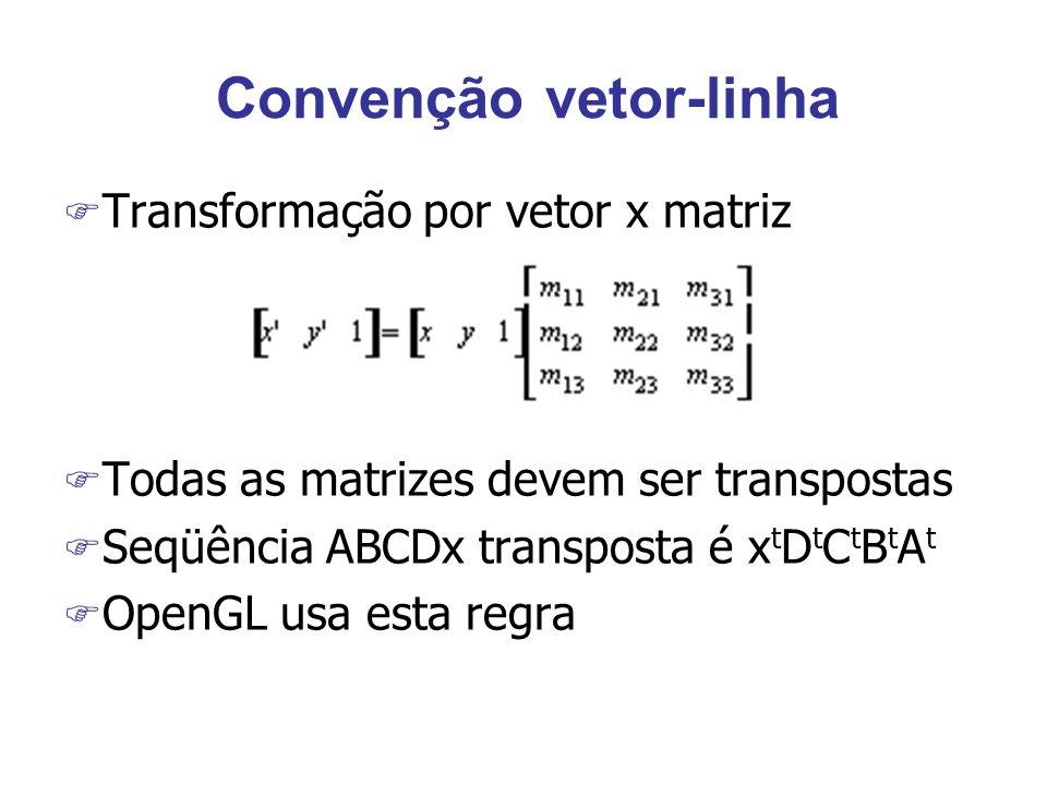 Convenção vetor-linha F Transformação por vetor x matriz F Todas as matrizes devem ser transpostas F Seqüência ABCDx transposta é x t D t C t B t A t