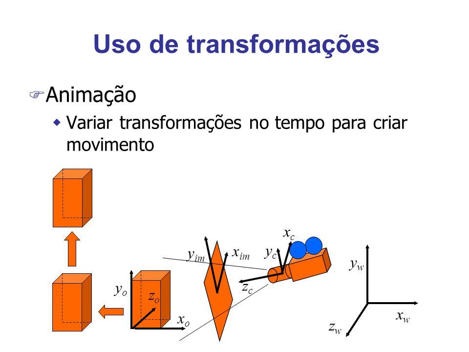 Colapsando transformações F Considere a seqüência p=ABCDp F Multiplicação não é comutativa (ordem) F Multiplicação é associativa wDa esquerda para a direita (pré-multiplicação) wDireita para a esquerda (pós-multiplicação) F ABCD = (((AB)C)D) = (A(B(CD))) F Troque cada matriz pelo produto do par