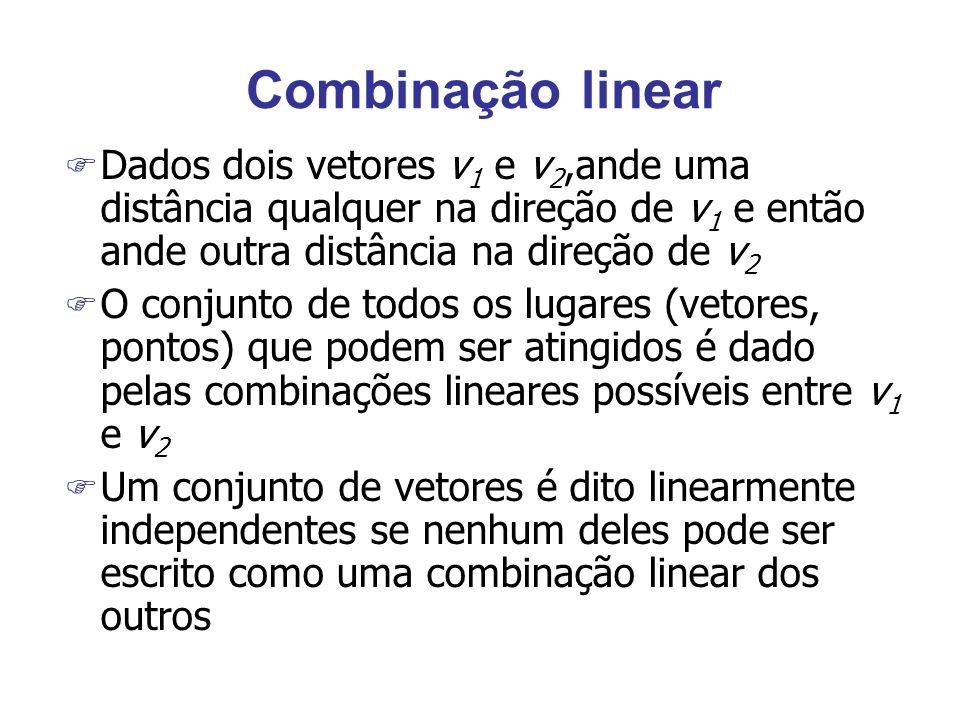 Combinação linear F Dados dois vetores v 1 e v 2,ande uma distância qualquer na direção de v 1 e então ande outra distância na direção de v 2 F O conj