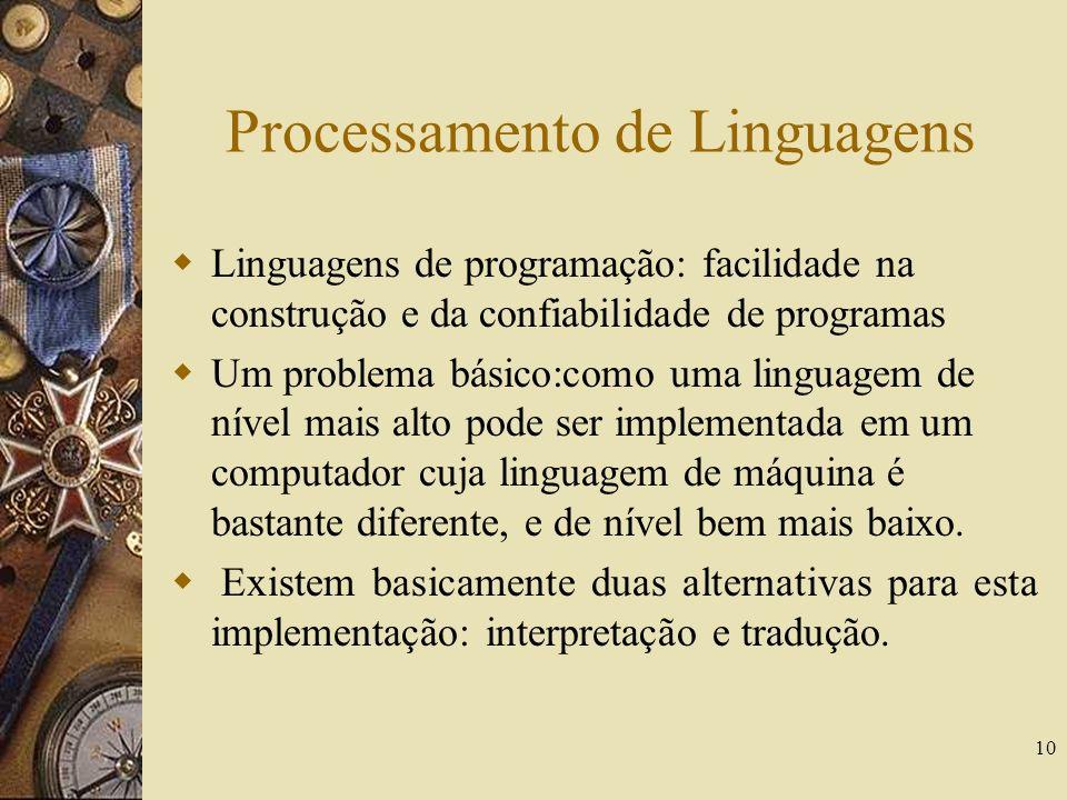 10 Processamento de Linguagens Linguagens de programação: facilidade na construção e da confiabilidade de programas Um problema básico:como uma lingua