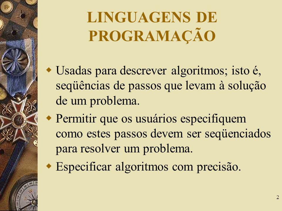 2 LINGUAGENS DE PROGRAMAÇÃO Usadas para descrever algoritmos; isto é, seqüências de passos que levam à solução de um problema. Permitir que os usuário