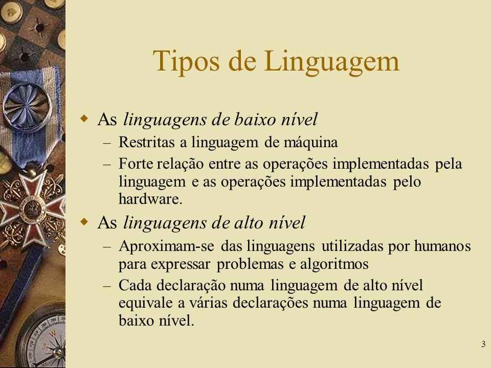 3 Tipos de Linguagem As linguagens de baixo nível – Restritas a linguagem de máquina – Forte relação entre as operações implementadas pela linguagem e