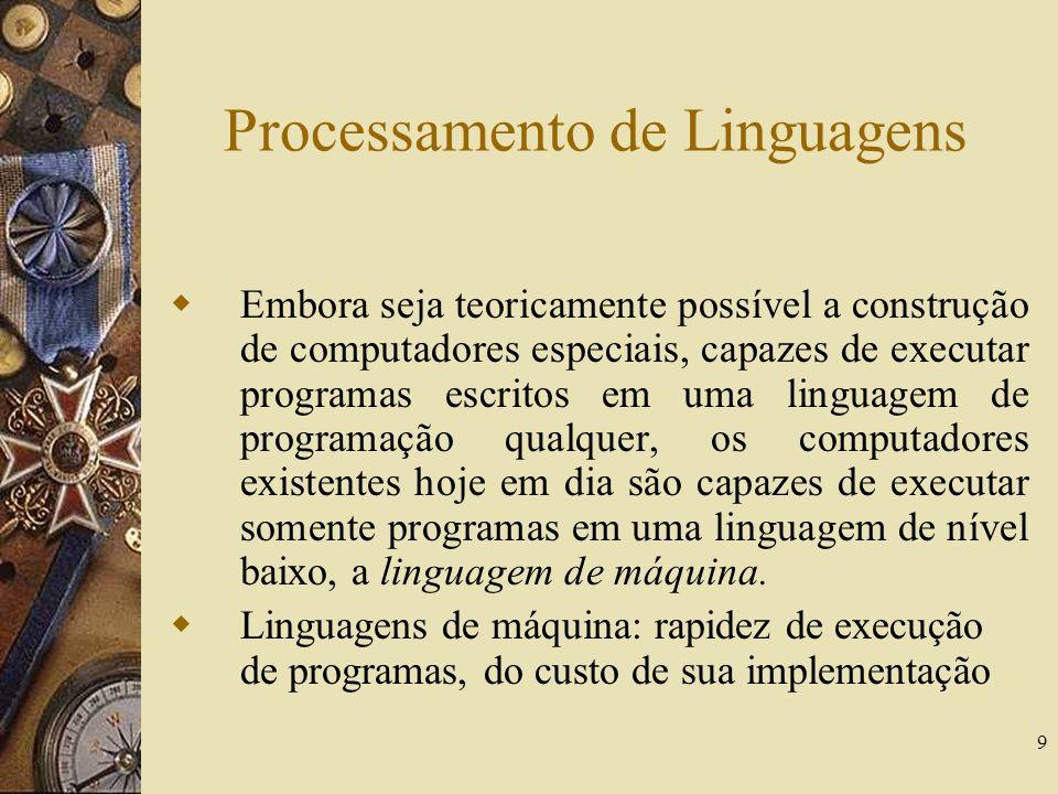 9 Processamento de Linguagens Embora seja teoricamente possível a construção de computadores especiais, capazes de executar programas escritos em uma