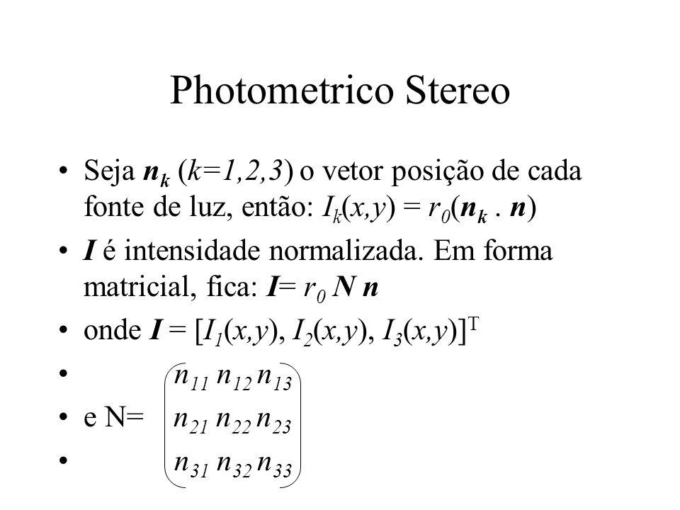 Photometrico Stereo Seja n k (k=1,2,3) o vetor posição de cada fonte de luz, então: I k (x,y) = r 0 (n k. n) I é intensidade normalizada. Em forma mat