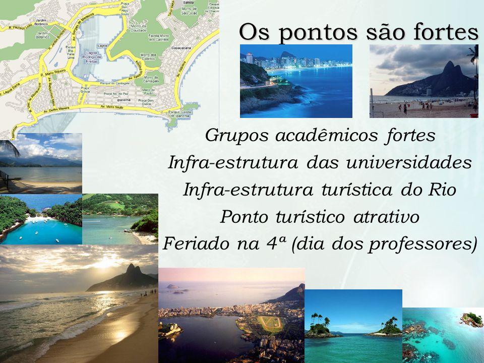 9 /10 Os pontos são fortes Grupos acadêmicos fortes Infra-estrutura das universidades Infra-estrutura turística do Rio Ponto turístico atrativo Feriad