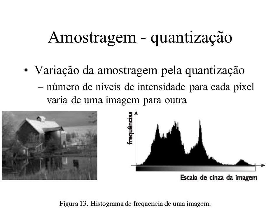 Amostragem - quantização Variação da amostragem pela quantização –número de níveis de intensidade para cada pixel varia de uma imagem para outra