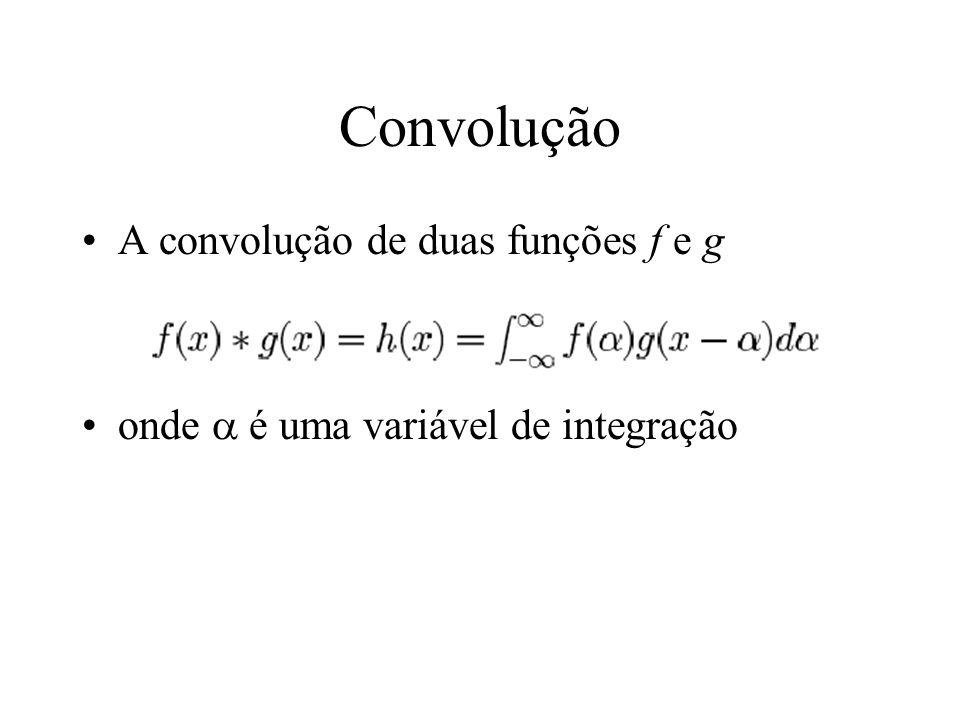 Convolução A convolução de duas funções f e g onde é uma variável de integração