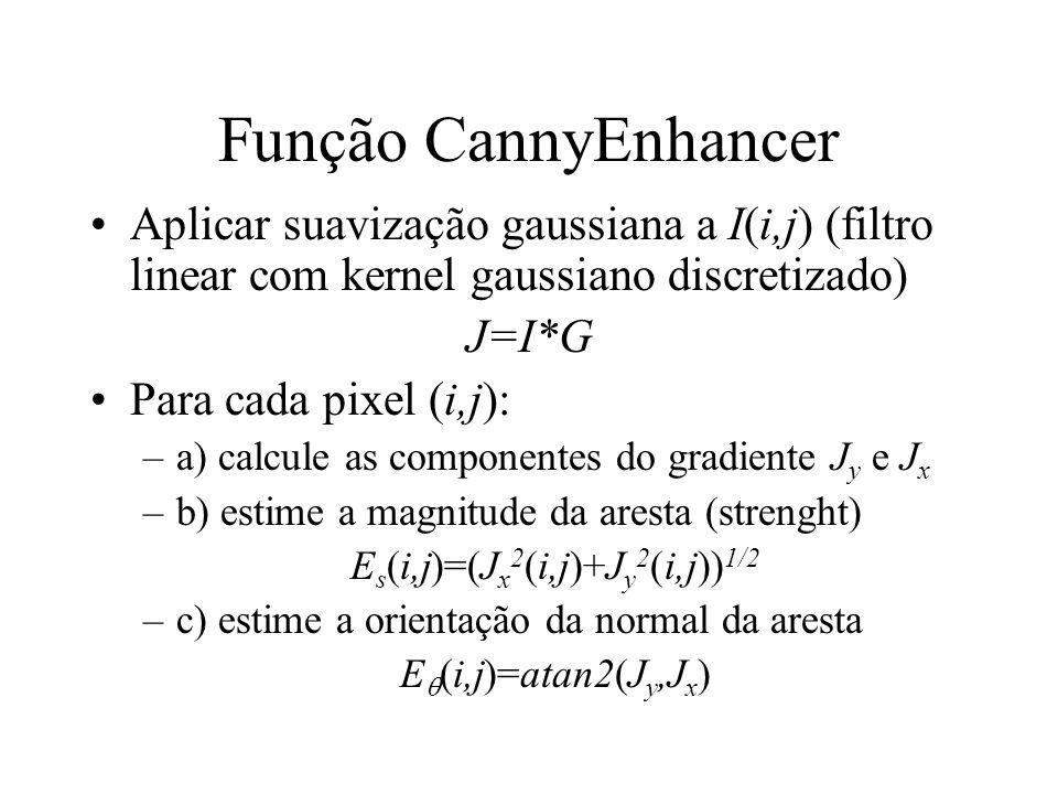Função CannyEnhancer Aplicar suavização gaussiana a I(i,j) (filtro linear com kernel gaussiano discretizado) J=I*G Para cada pixel (i,j): –a) calcule