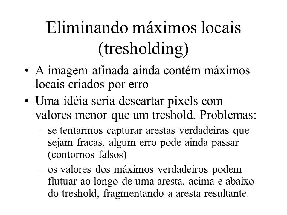 Eliminando máximos locais (tresholding) A imagem afinada ainda contém máximos locais criados por erro Uma idéia seria descartar pixels com valores men
