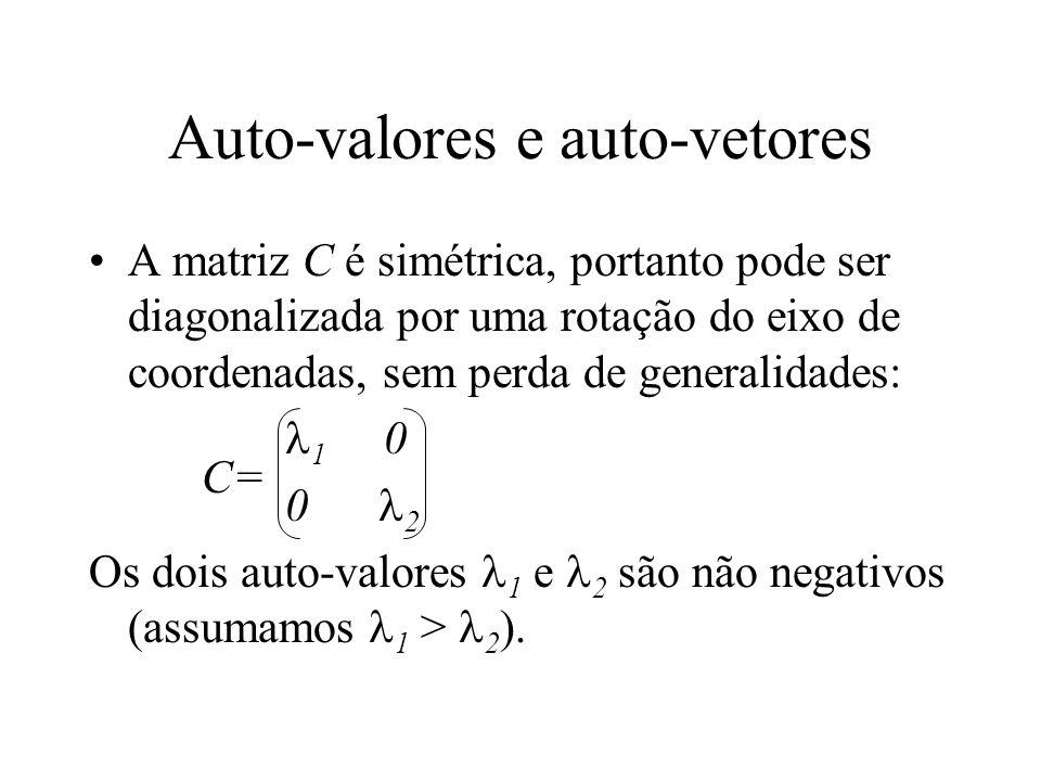 Auto-valores e auto-vetores A matriz C é simétrica, portanto pode ser diagonalizada por uma rotação do eixo de coordenadas, sem perda de generalidades