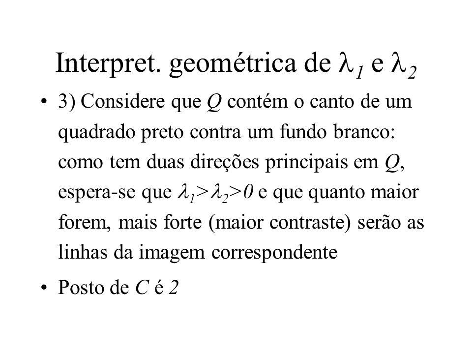 Interpret. geométrica de 1 e 2 3) Considere que Q contém o canto de um quadrado preto contra um fundo branco: como tem duas direções principais em Q,