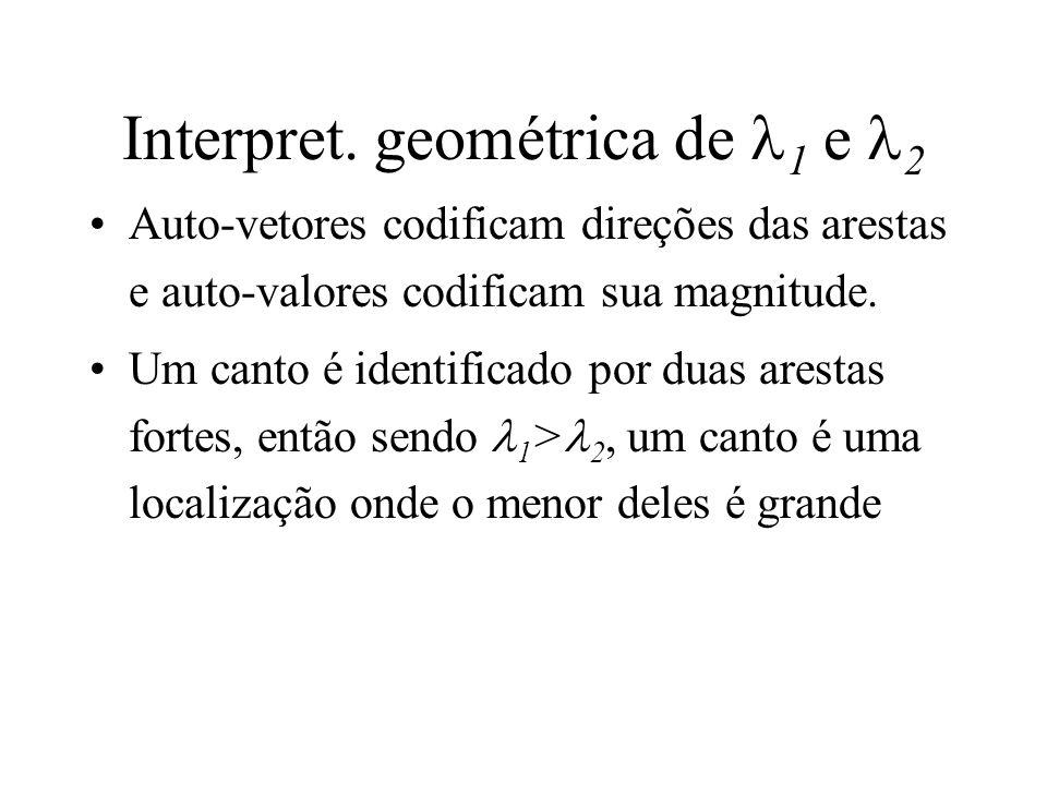 Interpret. geométrica de 1 e 2 Auto-vetores codificam direções das arestas e auto-valores codificam sua magnitude. Um canto é identificado por duas ar