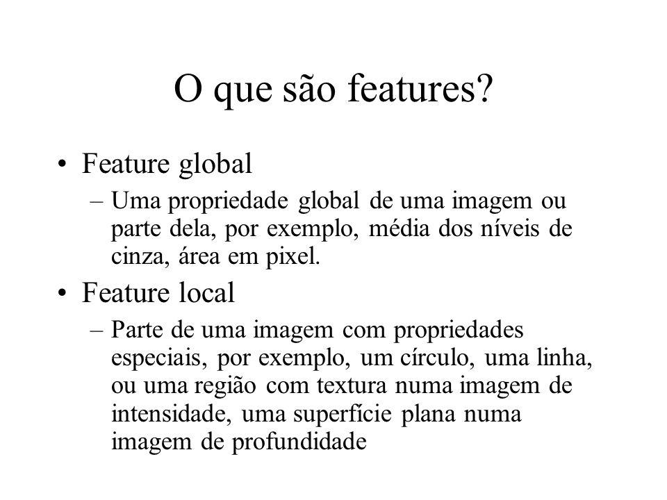 O que são features? Feature global –Uma propriedade global de uma imagem ou parte dela, por exemplo, média dos níveis de cinza, área em pixel. Feature