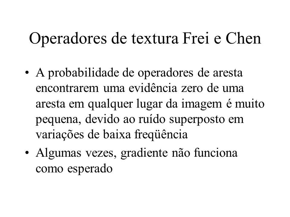 Operadores de textura Frei e Chen A probabilidade de operadores de aresta encontrarem uma evidência zero de uma aresta em qualquer lugar da imagem é m