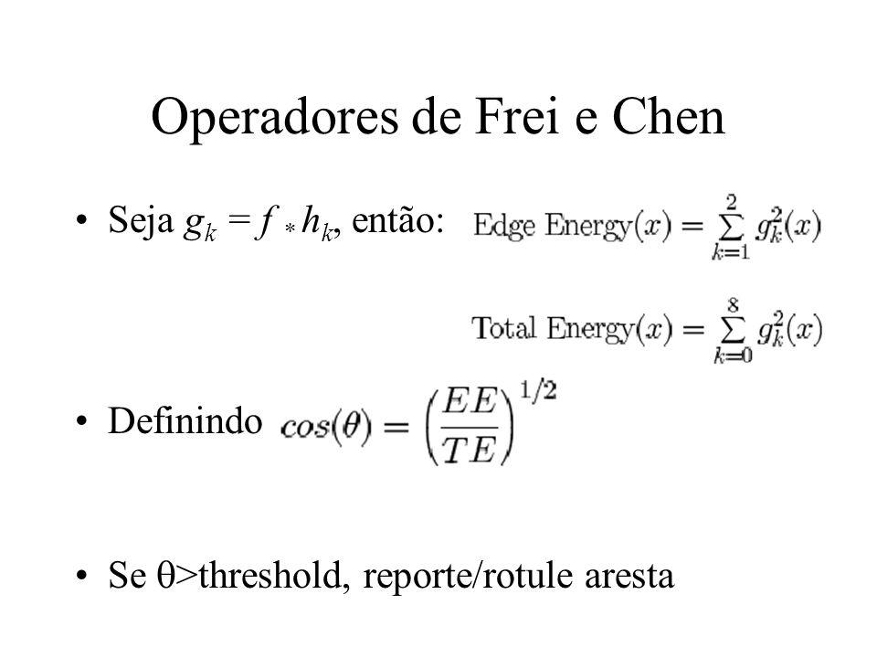 Operadores de Frei e Chen Seja g k = f * h k, então: Definindo Se >threshold, reporte/rotule aresta