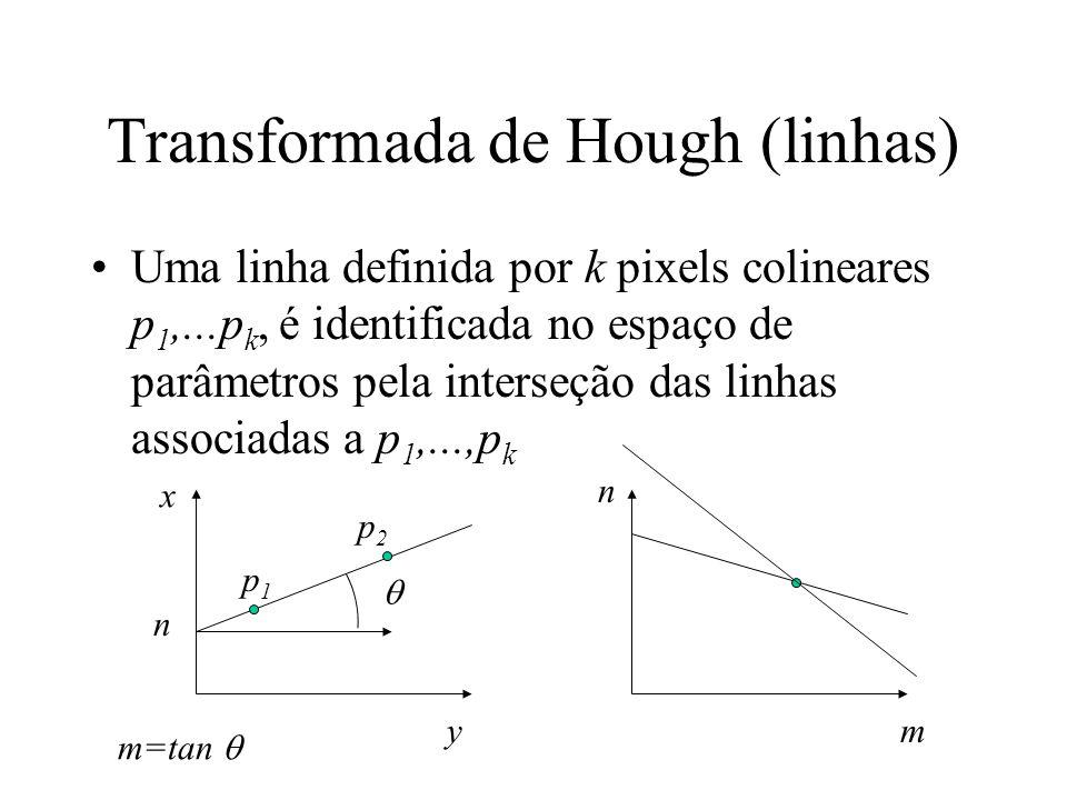 Transformada de Hough (linhas) Uma linha definida por k pixels colineares p 1,...p k, é identificada no espaço de parâmetros pela interseção das linha