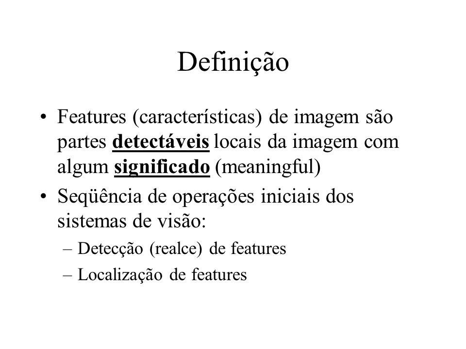 Definição Features (características) de imagem são partes detectáveis locais da imagem com algum significado (meaningful) Seqüência de operações inici