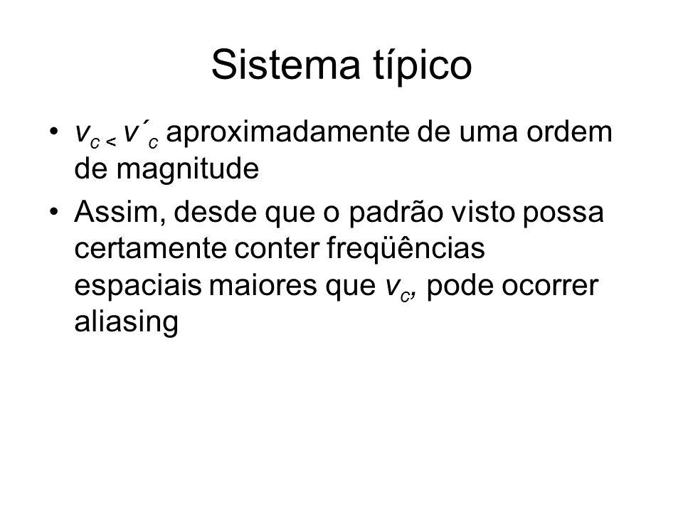 Sistema típico v c < v´ c aproximadamente de uma ordem de magnitude Assim, desde que o padrão visto possa certamente conter freqüências espaciais maio