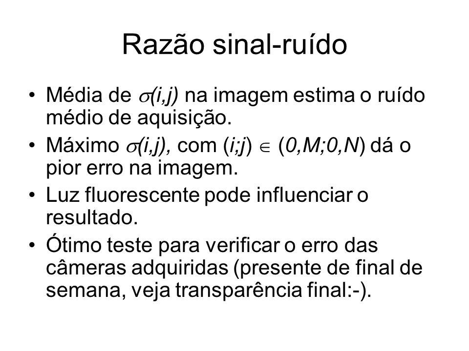 Razão sinal-ruído Média de (i,j) na imagem estima o ruído médio de aquisição. Máximo (i,j), com (i;j) (0,M;0,N) dá o pior erro na imagem. Luz fluoresc