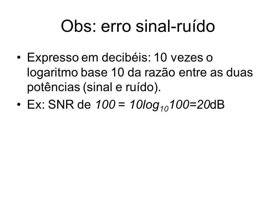 Obs: erro sinal-ruído Expresso em decibéis: 10 vezes o logaritmo base 10 da razão entre as duas potências (sinal e ruído). Ex: SNR de 100 = 10log 10 1