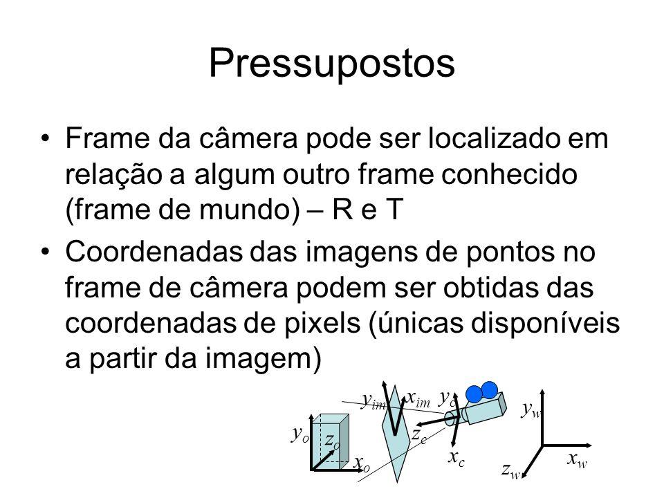 Pressupostos Frame da câmera pode ser localizado em relação a algum outro frame conhecido (frame de mundo) – R e T Coordenadas das imagens de pontos n