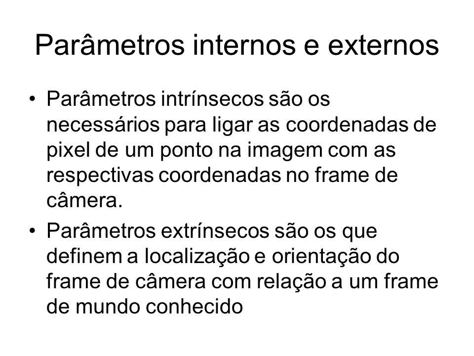 Parâmetros internos e externos Parâmetros intrínsecos são os necessários para ligar as coordenadas de pixel de um ponto na imagem com as respectivas c