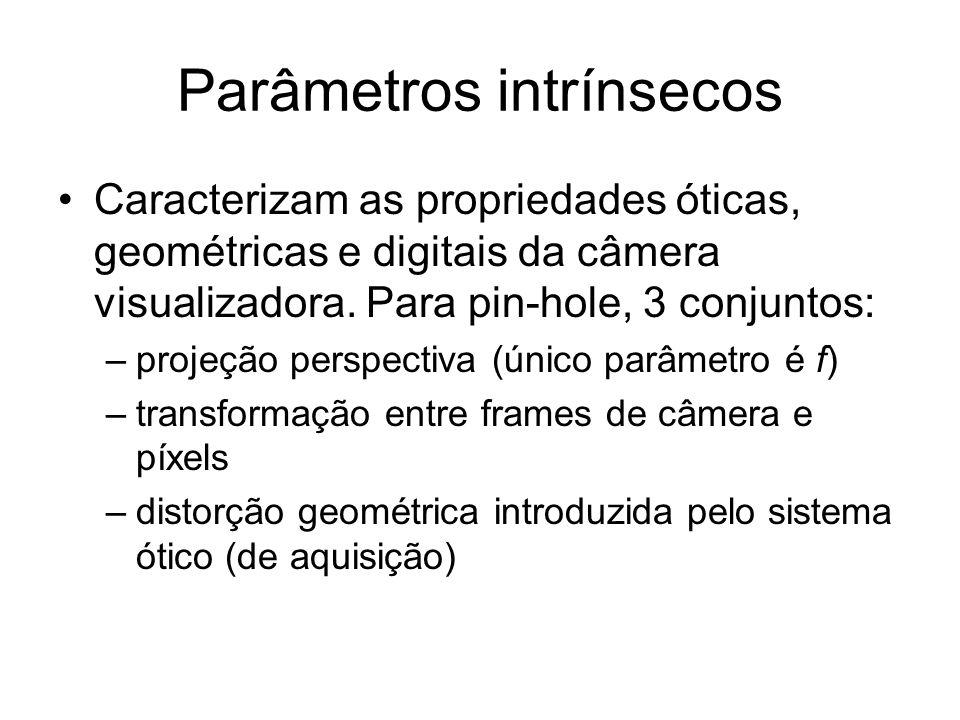 Parâmetros intrínsecos Caracterizam as propriedades óticas, geométricas e digitais da câmera visualizadora. Para pin-hole, 3 conjuntos: –projeção pers