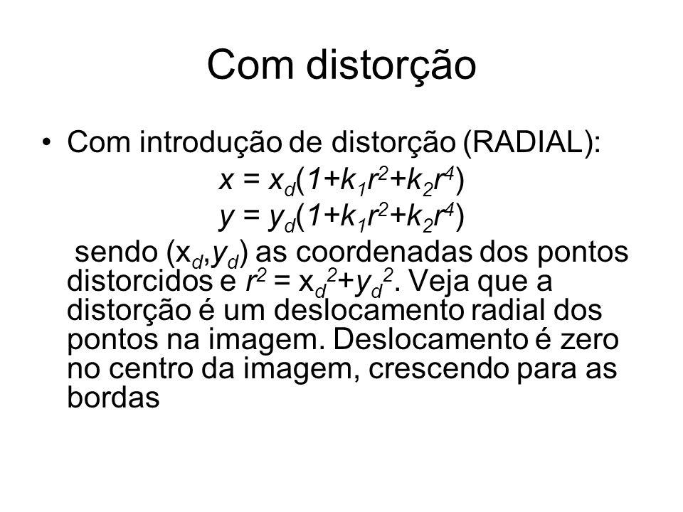 Com distorção Com introdução de distorção (RADIAL): x = x d (1+k 1 r 2 +k 2 r 4 ) y = y d (1+k 1 r 2 +k 2 r 4 ) sendo (x d,y d ) as coordenadas dos po