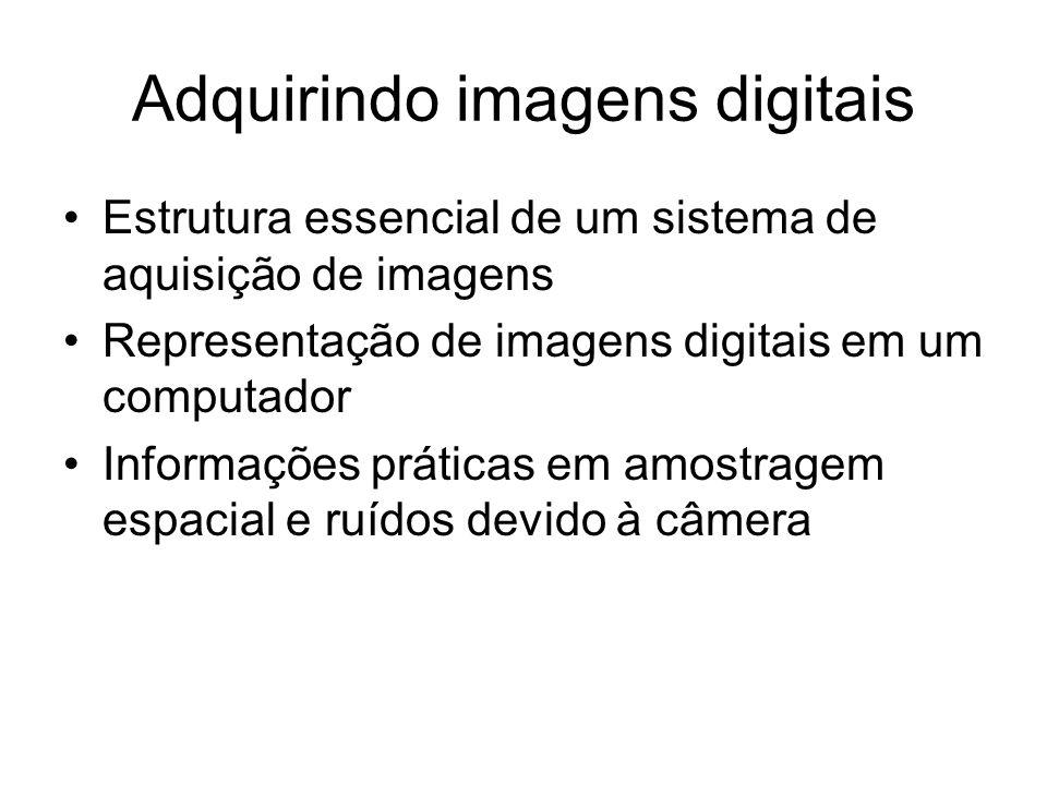 Adquirindo imagens digitais Estrutura essencial de um sistema de aquisição de imagens Representação de imagens digitais em um computador Informações p