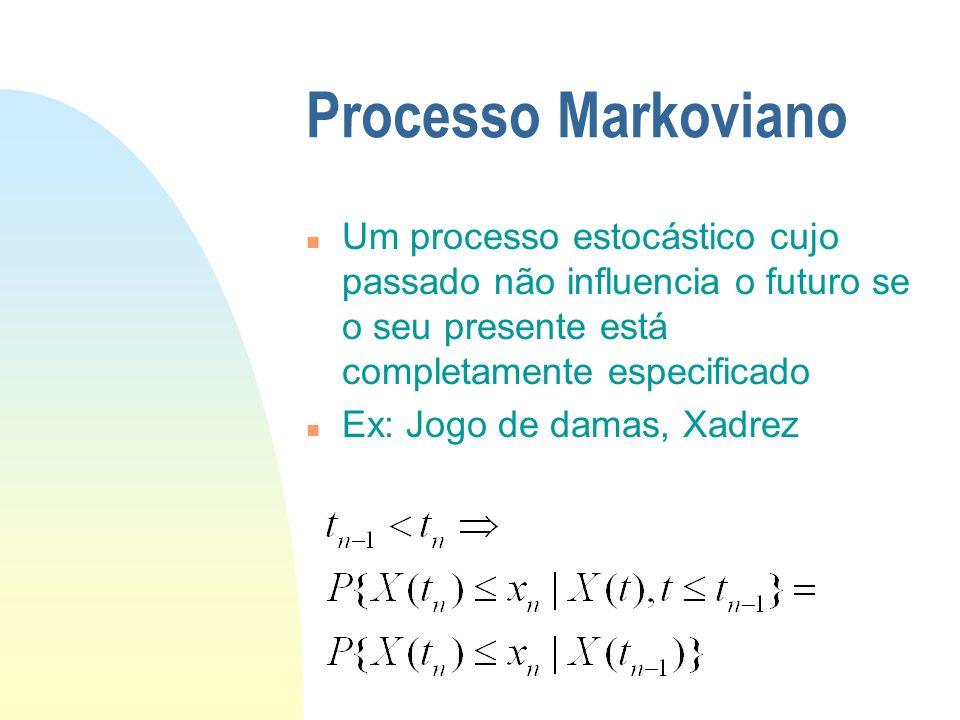 Processo Markoviano n Um processo estocástico cujo passado não influencia o futuro se o seu presente está completamente especificado n Ex: Jogo de damas, Xadrez