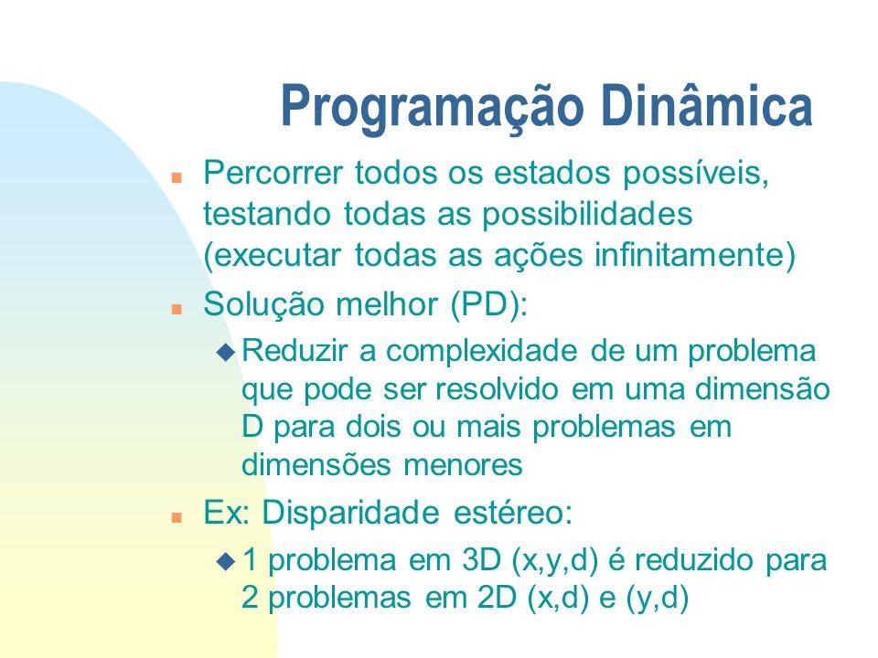 Programação Dinâmica n Percorrer todos os estados possíveis, testando todas as possibilidades (executar todas as ações infinitamente) n Solução melhor (PD): u Reduzir a complexidade de um problema que pode ser resolvido em uma dimensão D para dois ou mais problemas em dimensões menores n Ex: Disparidade estéreo: u 1 problema em 3D (x,y,d) é reduzido para 2 problemas em 2D (x,d) e (y,d)