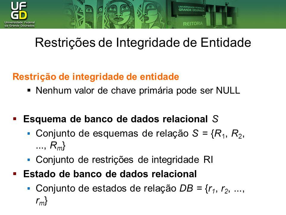 Restrição de integridade de entidade Nenhum valor de chave primária pode ser NULL Esquema de banco de dados relacional S Conjunto de esquemas de relação S = {R 1, R 2,..., R m } Conjunto de restrições de integridade RI Estado de banco de dados relacional Conjunto de estados de relação DB = {r 1, r 2,..., r m } Restrições de Integridade de Entidade