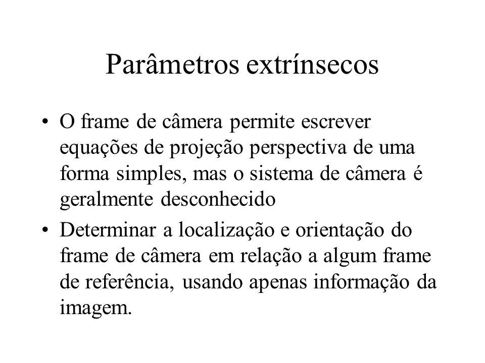 Parâmetros extrínsecos O frame de câmera permite escrever equações de projeção perspectiva de uma forma simples, mas o sistema de câmera é geralmente