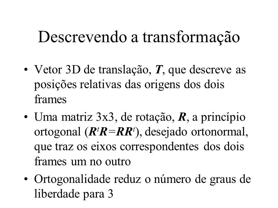 Descrevendo a transformação Vetor 3D de translação, T, que descreve as posições relativas das origens dos dois frames Uma matriz 3x3, de rotação, R, a