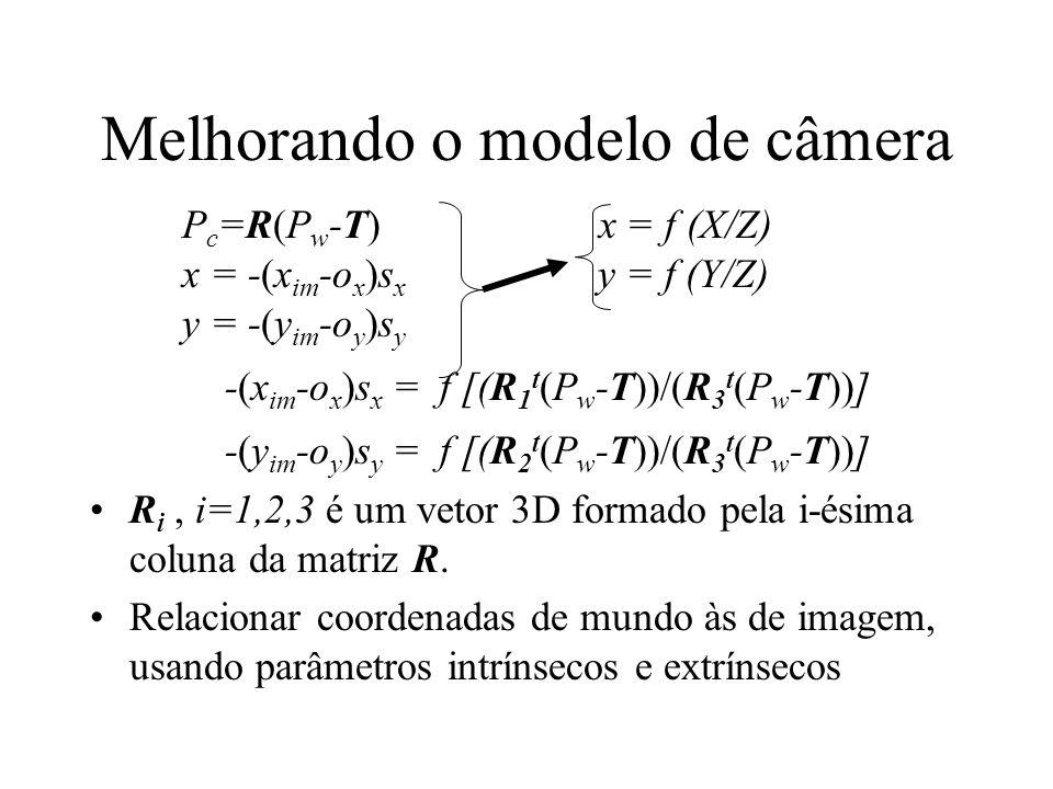 Melhorando o modelo de câmera P c =R(P w -T) x = f (X/Z) x = -(x im -o x )s x y = f (Y/Z) y = -(y im -o y )s y -(x im -o x )s x = f [(R 1 t (P w -T))/