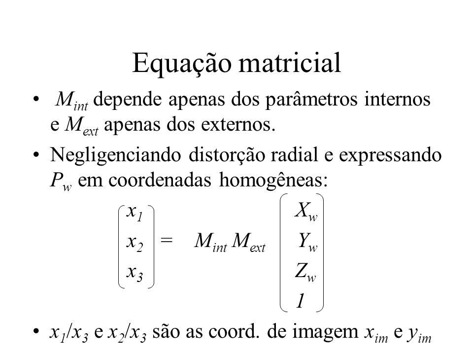 Equação matricial M int depende apenas dos parâmetros internos e M ext apenas dos externos. Negligenciando distorção radial e expressando P w em coord