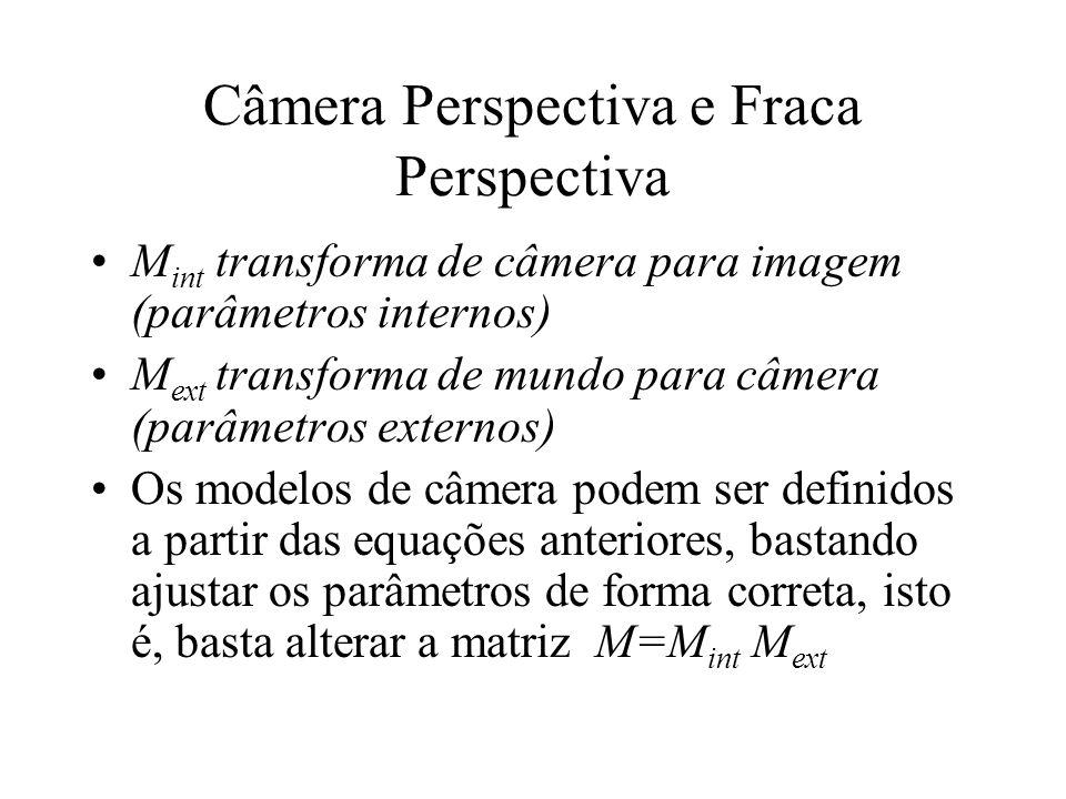 Câmera Perspectiva e Fraca Perspectiva M int transforma de câmera para imagem (parâmetros internos) M ext transforma de mundo para câmera (parâmetros