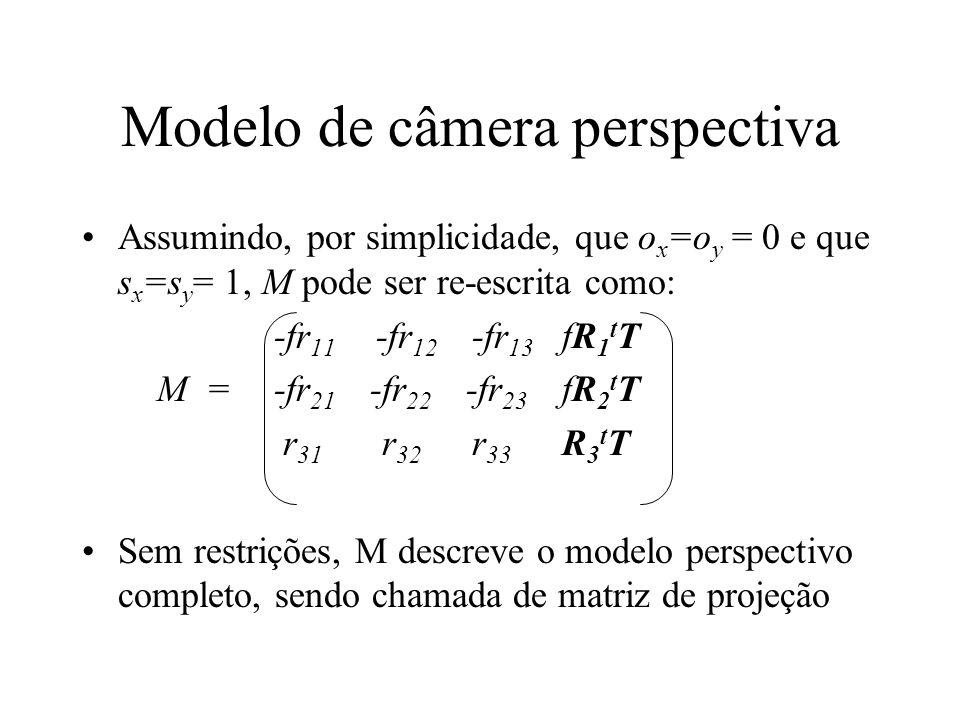 Modelo de câmera perspectiva Assumindo, por simplicidade, que o x =o y = 0 e que s x =s y = 1, M pode ser re-escrita como: -fr 11 -fr 12 -fr 13 fR 1 t