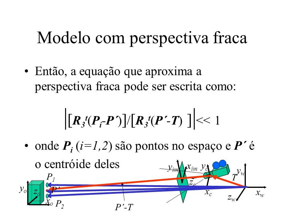Modelo com perspectiva fraca Então, a equação que aproxima a perspectiva fraca pode ser escrita como: | [ R 3 t (P i -P´) ] / [ R 3 t (P´-T) ] | << 1
