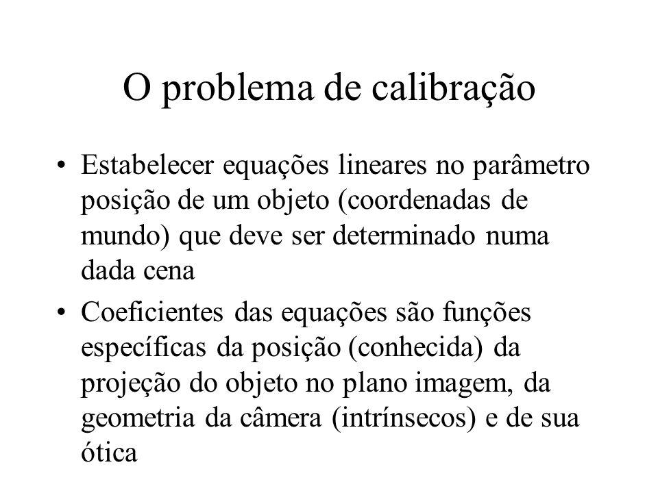 O problema de calibração Estabelecer equações lineares no parâmetro posição de um objeto (coordenadas de mundo) que deve ser determinado numa dada cen
