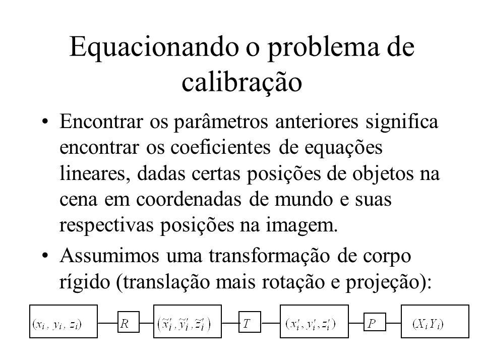Equacionando o problema de calibração Encontrar os parâmetros anteriores significa encontrar os coeficientes de equações lineares, dadas certas posiçõ