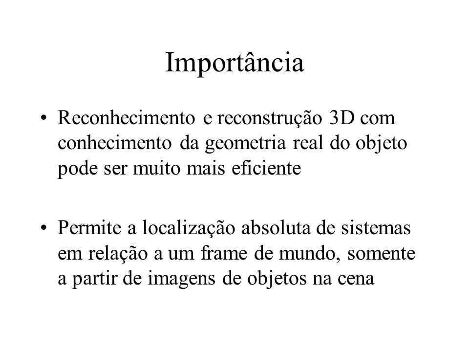 Importância Reconhecimento e reconstrução 3D com conhecimento da geometria real do objeto pode ser muito mais eficiente Permite a localização absoluta