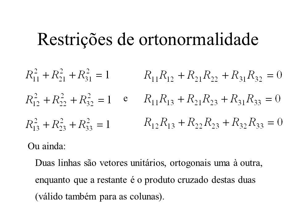 Restrições de ortonormalidade e Ou ainda: Duas linhas são vetores unitários, ortogonais uma à outra, enquanto que a restante é o produto cruzado desta