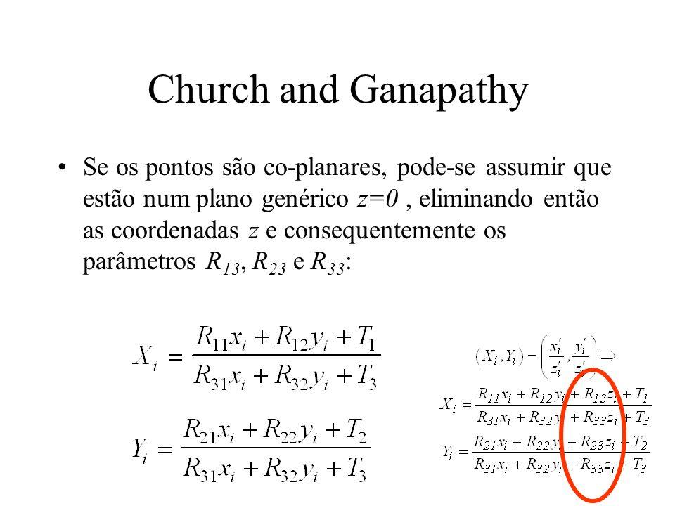 Church and Ganapathy Se os pontos são co-planares, pode-se assumir que estão num plano genérico z=0, eliminando então as coordenadas z e consequenteme