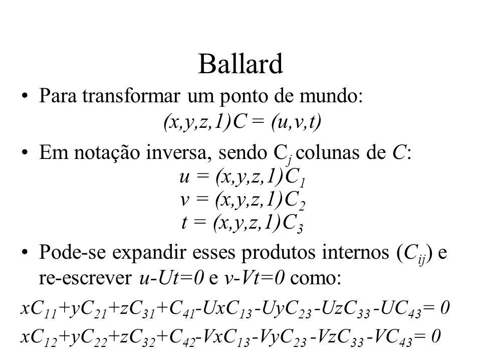 Ballard Para transformar um ponto de mundo: (x,y,z,1)C = (u,v,t) Em notação inversa, sendo C j colunas de C: u = (x,y,z,1)C 1 v = (x,y,z,1)C 2 t = (x,
