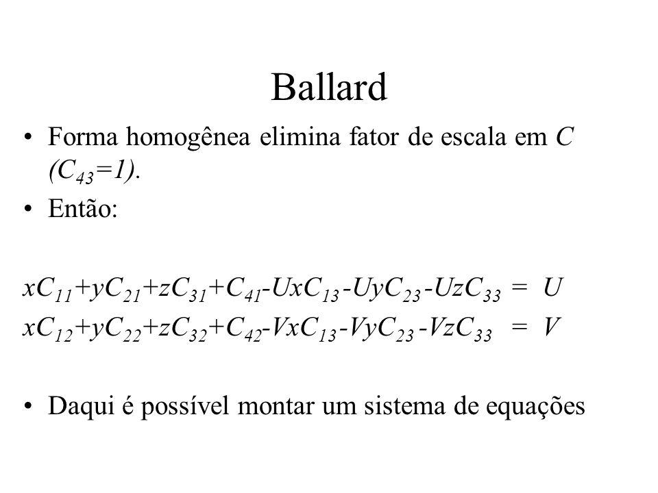 Ballard Forma homogênea elimina fator de escala em C (C 43 =1). Então: xC 11 +yC 21 +zC 31 +C 41 -UxC 13 -UyC 23 -UzC 33 = U xC 12 +yC 22 +zC 32 +C 42