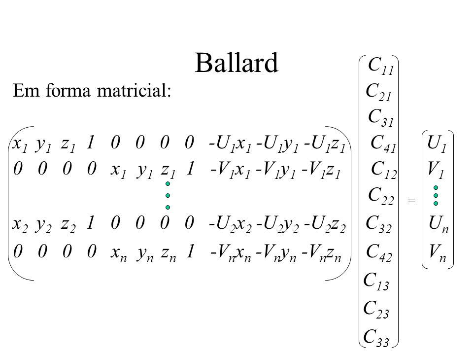 Ballard C 11 Em forma matricial: C 21 C 31 x 1 y 1 z 1 1 0 0 0 0 -U 1 x 1 -U 1 y 1 -U 1 z 1 C 41 U 1 0 0 0 0 x 1 y 1 z 1 1 -V 1 x 1 -V 1 y 1 -V 1 z 1