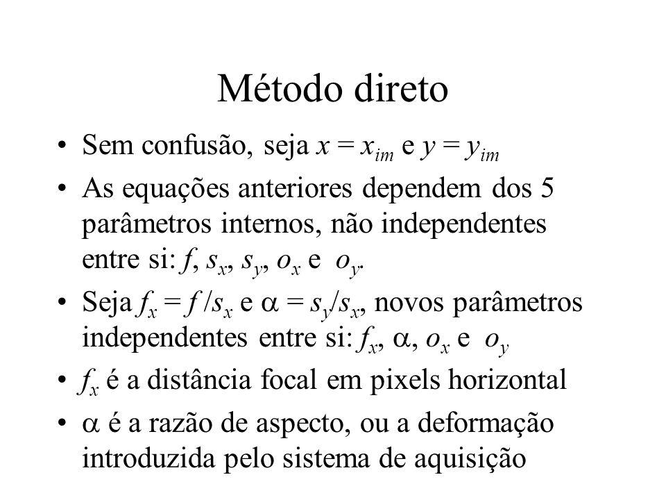 Método direto Sem confusão, seja x = x im e y = y im As equações anteriores dependem dos 5 parâmetros internos, não independentes entre si: f, s x, s