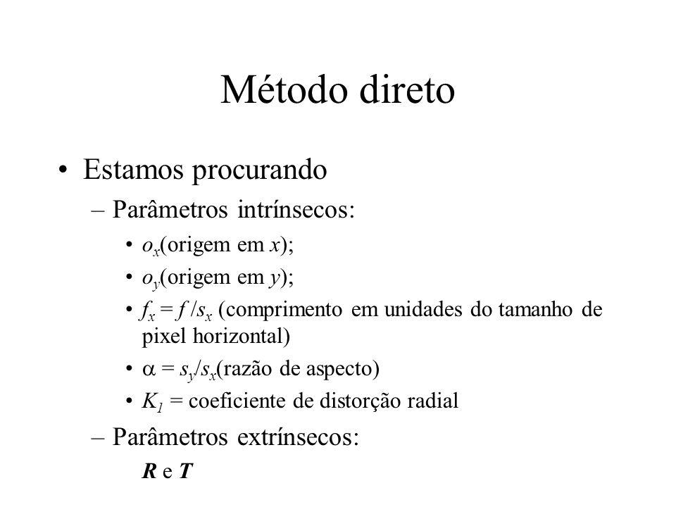 Método direto Estamos procurando –Parâmetros intrínsecos: o x (origem em x); o y (origem em y); f x = f /s x (comprimento em unidades do tamanho de pi