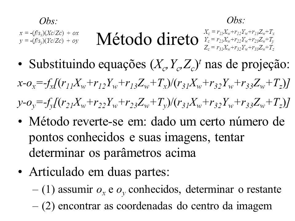 Método direto Substituindo equações (X c,Y c,Z c ) t nas de projeção: x-o x =-f x [(r 11 X w +r 12 Y w +r 13 Z w +T x )/(r 31 X w +r 32 Y w +r 33 Z w